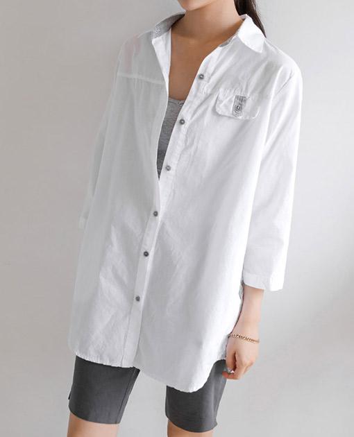 <br> 7DA12765BB_配色ポイントポケットロールアップシャツ