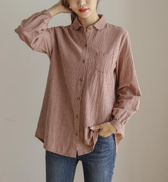 <br> 8DA17845DD_ガディスラウンドカラーチェックシャツ