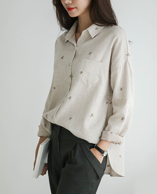 <br> 9DA17900GG_タルフラワー刺繍ジャンジュルシャツ